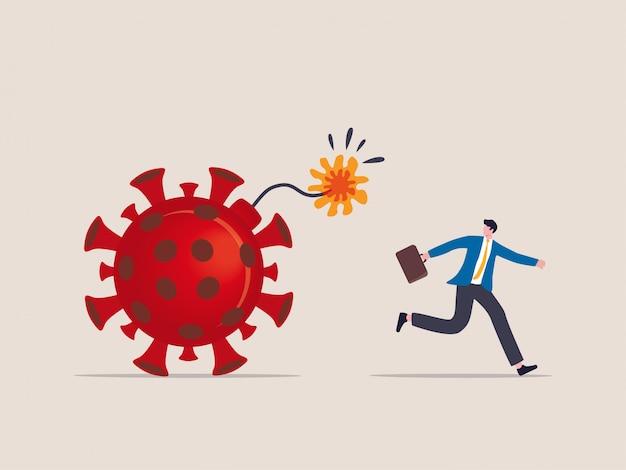 Wybuch Koronawirusa Covid-19 Niszczy Finanse I Biznes, świat Pandemii Wirusów Odlicza Koncepcję Detonacji, Biznesmen Ucieka Przed Detonacją Odliczając Wirus Patogennej Bomby. Premium Wektorów