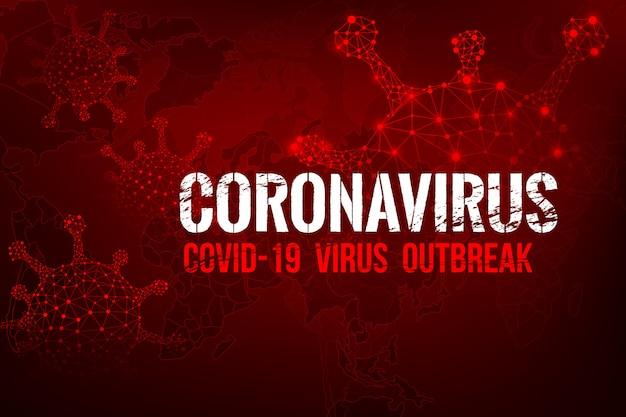Wybuch Tekstu Koronawirusa Covid-19 Z Mapą świata I Interfejsem Użytkownika Premium Wektorów