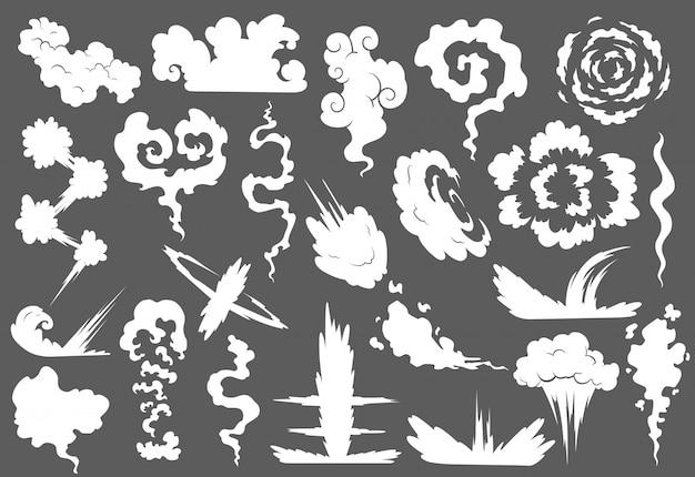 Wybuch Z Zestawem Chmury Dymu Premium Wektorów