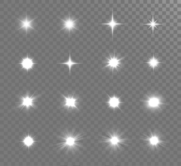 Wybucha Białe świecące światło. Jasna Gwiazda. Premium Wektorów