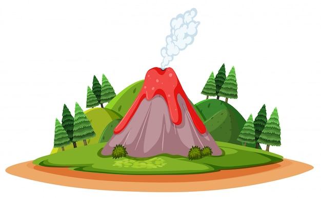Wybuchający Wulkan I Dym W Stylu Forst Kreskówki Premium Wektorów