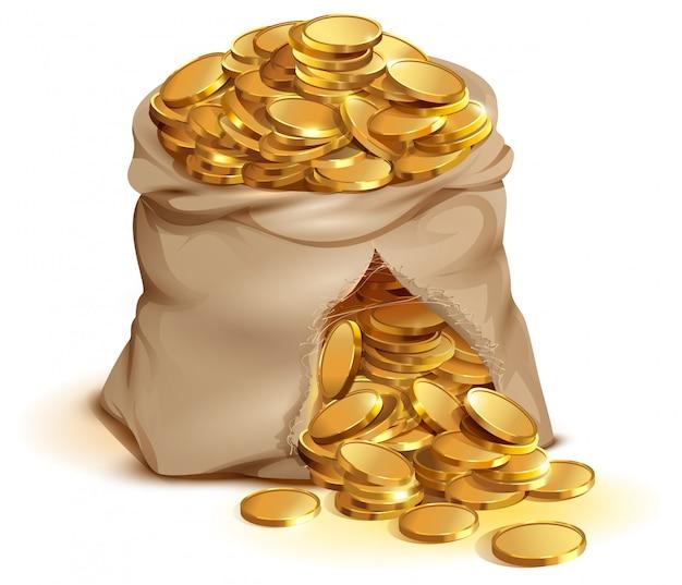 Wybuchła Pełna Torba Złotych Monet, Złote Pieniądze W Gotówce Premium Wektorów
