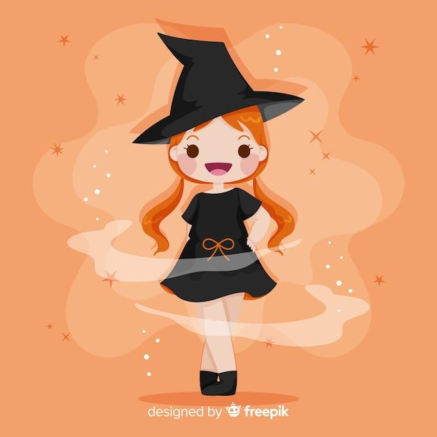 Wyciągnąć rękę ładny halloween czarownica Darmowych Wektorów