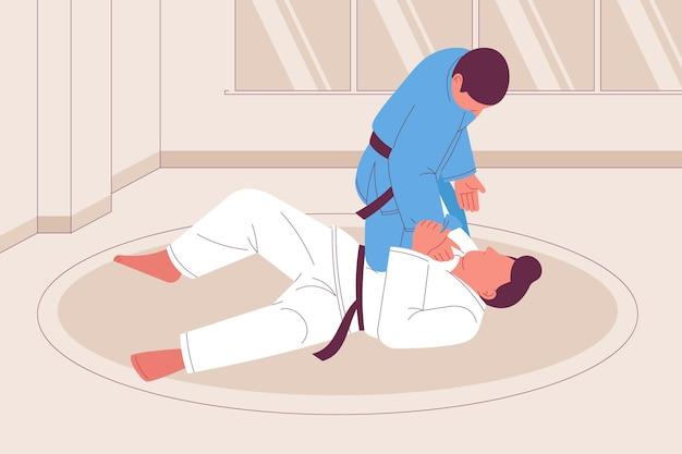 Wyciągnąć Rękę Walczących Sportowców Jiu-jitsu Darmowych Wektorów