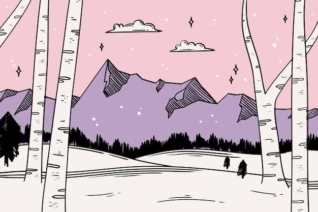 Wyciągnąć rękę zimowy krajobraz Darmowych Wektorów