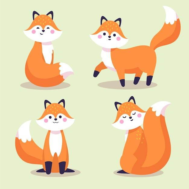 Wyciągnięta Kolekcja Fox Darmowych Wektorów