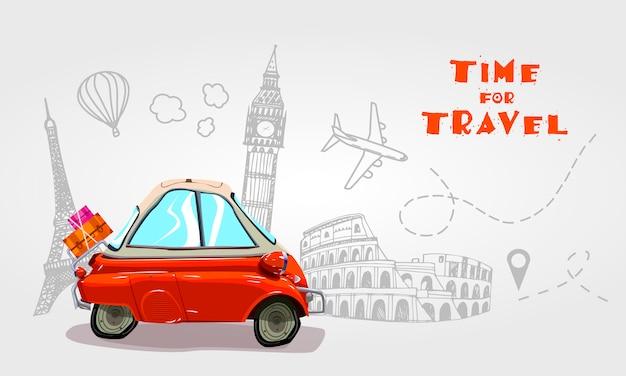 Wycieczka samochodem. podróżować samochodem. Premium Wektorów
