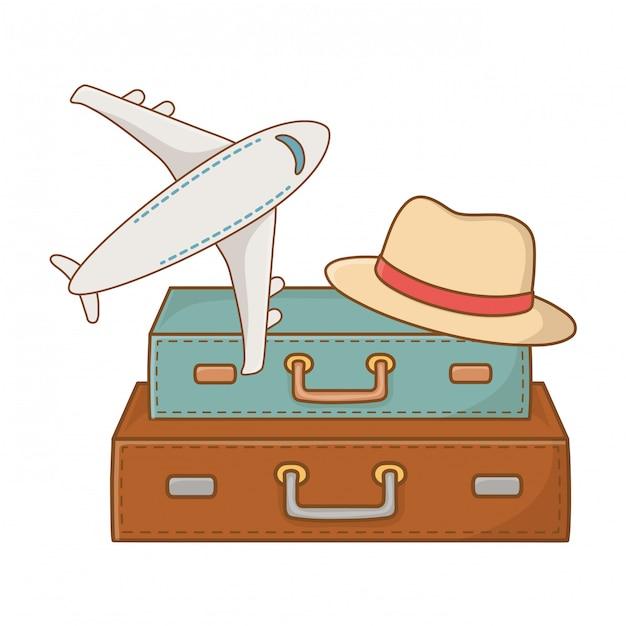 Wycieczka turystyczna letnia podróż Premium Wektorów