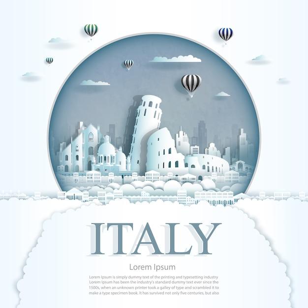 Wycinane Z Papieru Zabytki Włoch Z Szablonem Tła Balonów Na Ogrzane Powietrze I Chmury Premium Wektorów