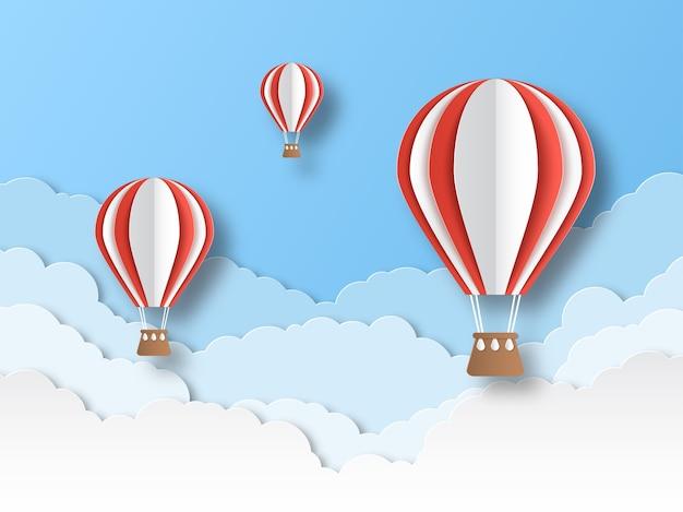 Wycinany Z Papieru Balon Powietrzny. Premium Wektorów