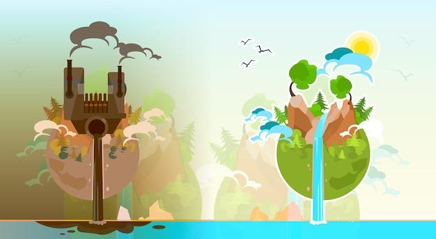 Wyczyść I Zanieczyszczona Ziemia Planeta Globe Wektor Premium