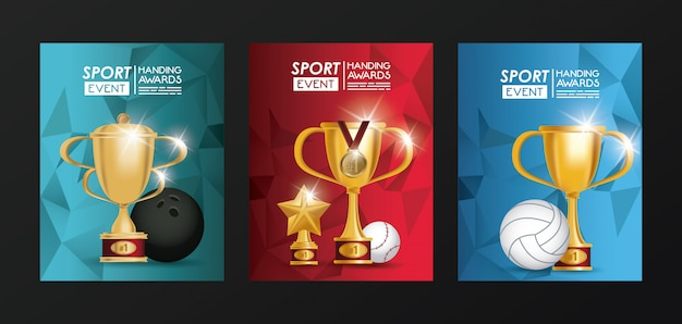 Wydarzenia Sportowe Trofeum Nagradza Plakaty Premium Wektorów