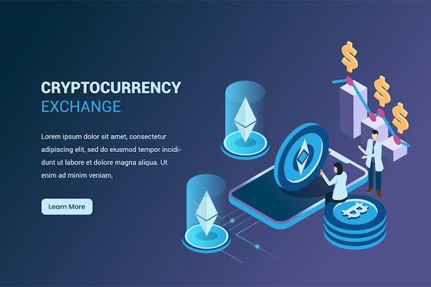 Wydobywanie kryptowaluty ethereum w wymianie izometrycznej 3d, bitcoin i kryptowaluty Premium Wektorów
