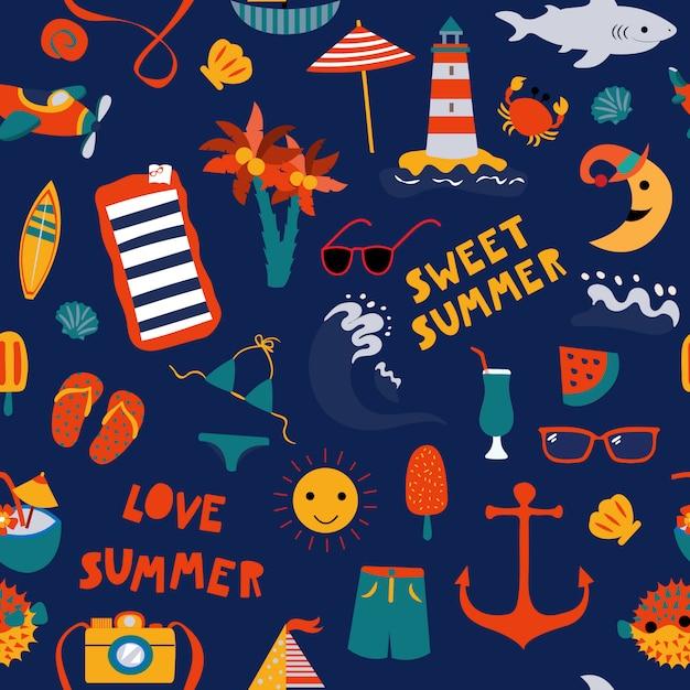 Wydrukuj lato morski niebieski Premium Wektorów