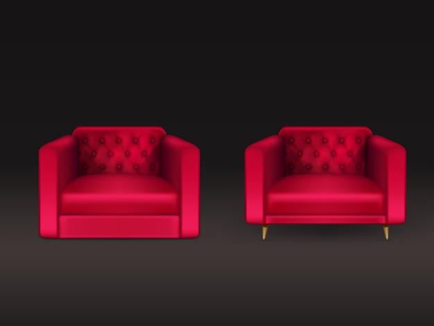 Wygodne fotele chesterfield, lawson, klubowe z czerwoną skórą, tapicerka materiałowa, drewniane nogi 3d realistyczna ilustracja na czarnym tle. nowoczesne meble domowe, element wyposażenia domu Darmowych Wektorów