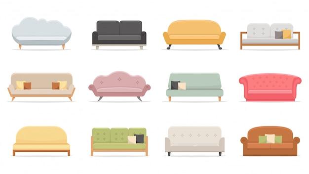 Wygodne Sofy. Luksusowa Kanapa Do Mieszkania, Komfortowe Modele Sof I Nowoczesny Zestaw Ilustracji Domowych Sof Premium Wektorów