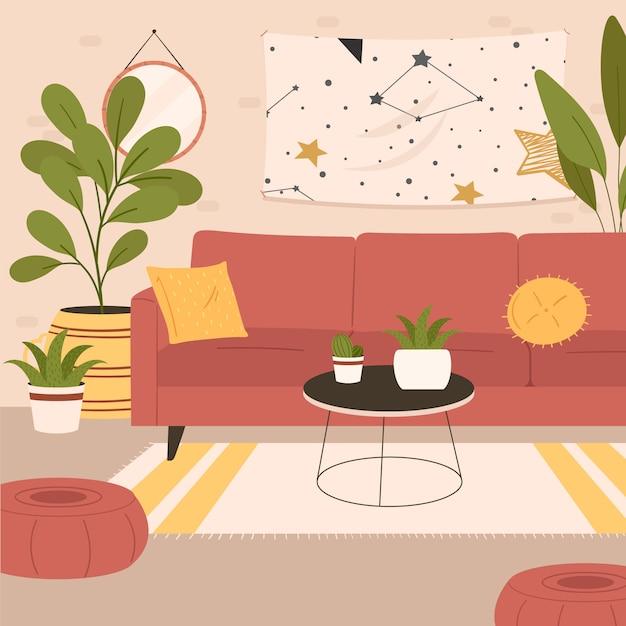 Wygodne Wnętrze Salonu Na Fotelu I Otomanie Z Roślinami Doniczkowymi Rosnącymi W Doniczkach Darmowych Wektorów
