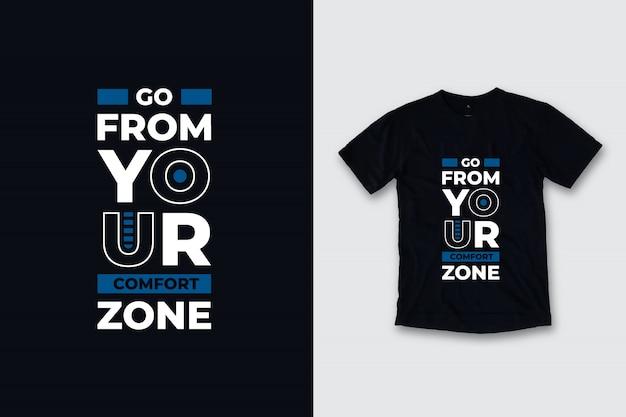Wyjdź Ze Swojej Strefy Komfortu Nowoczesny Projekt Koszulki Z Cytatami Premium Wektorów