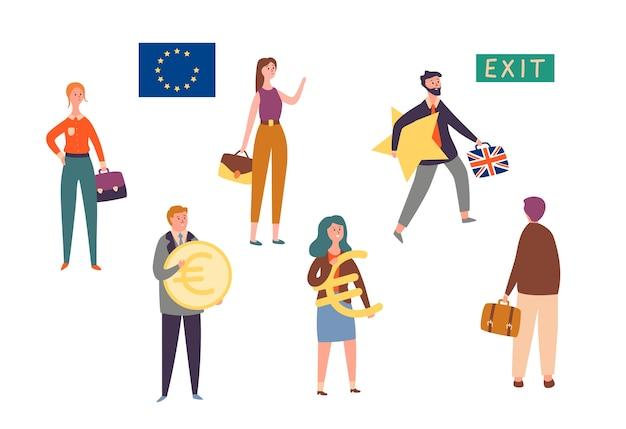 Wyjście Wielkiej Brytanii Z Unii Europejskiej, Zestaw Znaków Brexit Concept. Man Leave Eu Z Gwiazdą. Brytyjska Reforma Polityki Krajowej W Celu Powstrzymania Kryzysu Gospodarczego. Ludzie Trzymają Znak Waluty Płaski Kreskówka Wektor Ilustracja Premium Wektorów