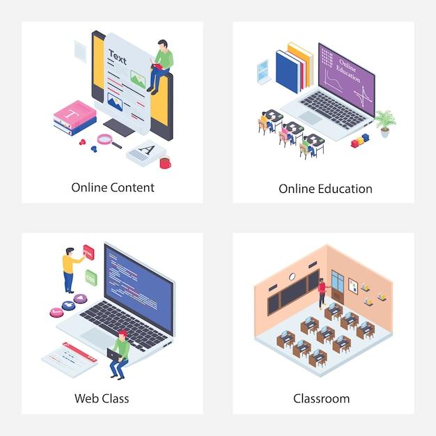 Wykład Online Ilustracje Izometryczne Premium Wektorów