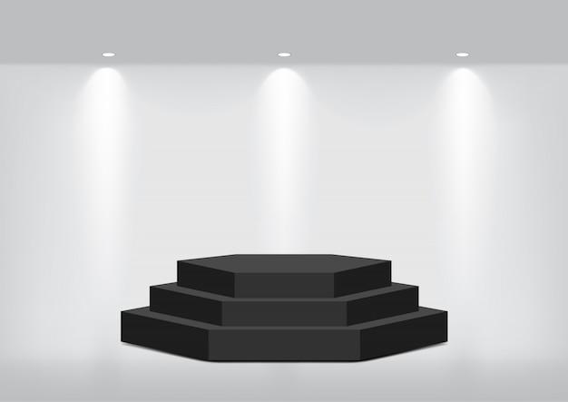 Wykonaj Realistyczną Pustą Geometryczną Półkę Do Zaprezentowania Wnętrza Premium Wektorów