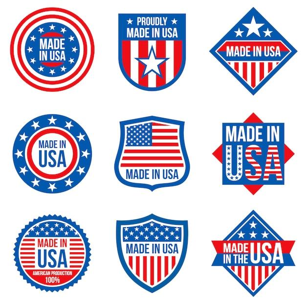Wykonane Na Etykietach Usa. Amerykańskie Naklejki Produkcyjne Premium Wektorów