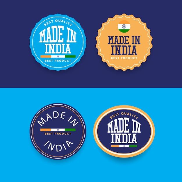 Wykonane W Indiach Szablon Zestawu Etykiet. Premium Wektorów