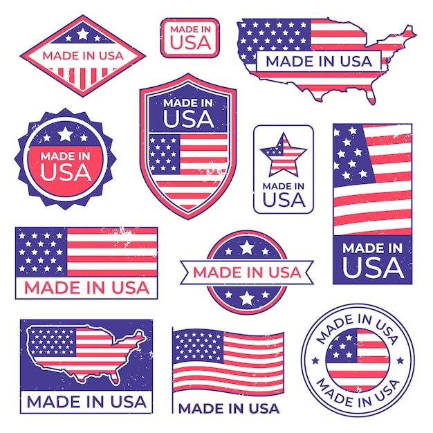Wykonane W Logo Usa. Amerykański Dumny Znaczek Patriotyczny, Produkujący Znaczek Z Etykietą Usa I Zestaw Flag Patriotycznych Stanów Zjednoczonych Premium Wektorów