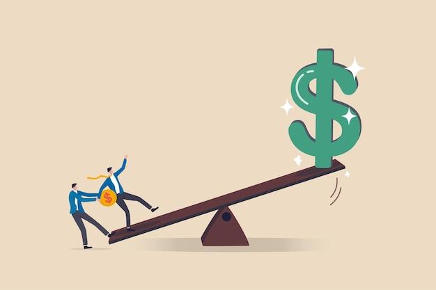 Wykorzystaj Inwestycje, Inwestor Pożyczy Pieniądze Lub Akcje, Aby Zwiększyć Koncepcję Potencjalnego Zwrotu Premium Wektorów