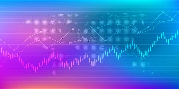 Wykres giełdowy lub wykres giełdowy Premium Wektorów