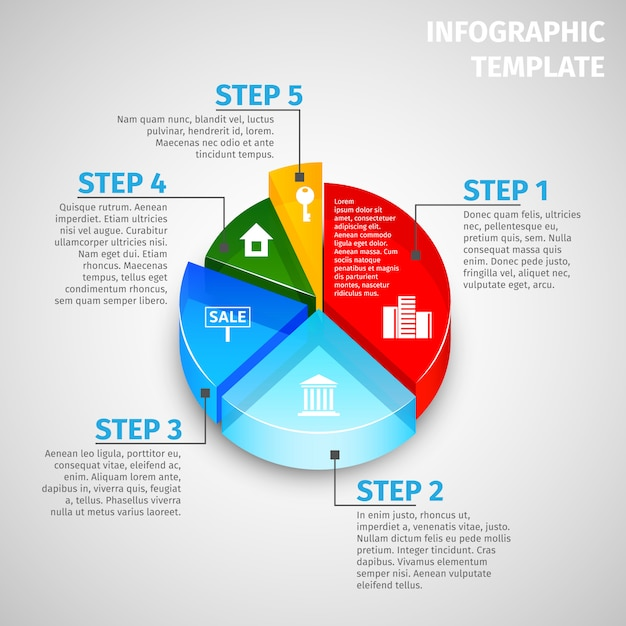 Wykres kołowy nieruchomości infographic szablon Darmowych Wektorów