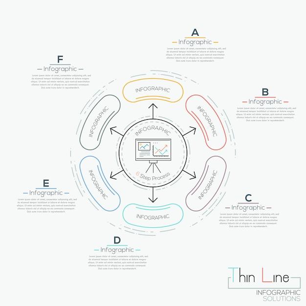 Wykres Kołowy Z 6 Połączonymi Elementami Premium Wektorów