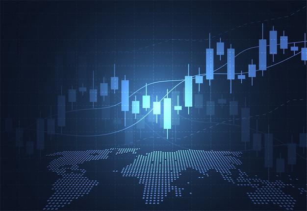 Wykres świeca Biznesowa Wykres Giełdowy Obrotu Giełdowego Premium Wektorów