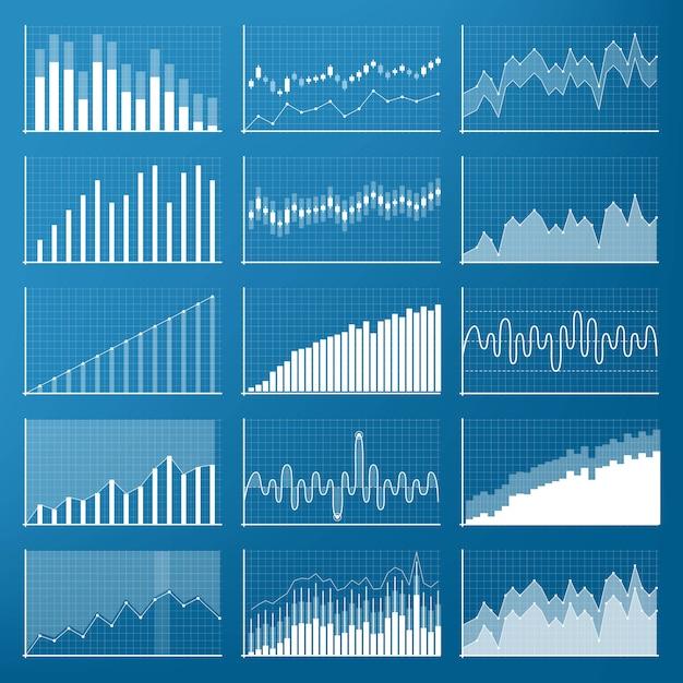 Wykresy finansowe danych biznesowych. schemat finansowy. Premium Wektorów
