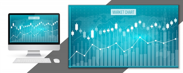 Wykresy finansowe danych biznesowych Premium Wektorów