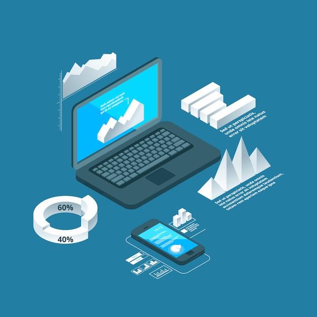 Wykresy Izometryczne. Biznesowy Pojęcie Laptop Z 3d Dane Histograma Grafika Finansuje Prezentaci Lub Analityka Infographic Przedmioty Premium Wektorów