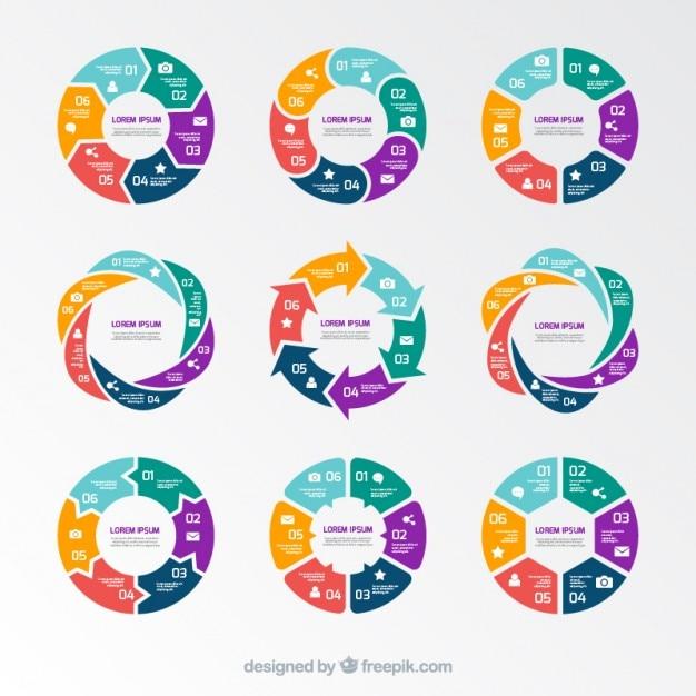 Wykresy kołowe infografika Darmowych Wektorów