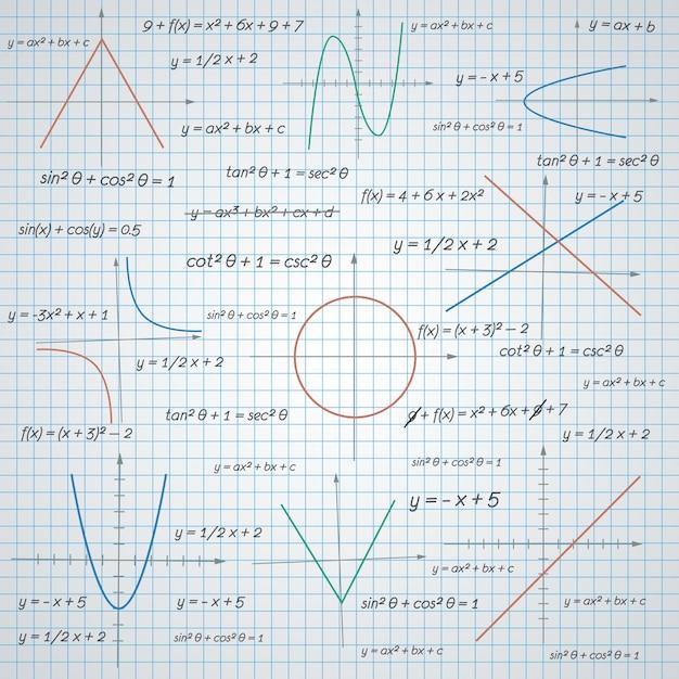 Wykresy matematyczne i tło papieru formuł Darmowych Wektorów