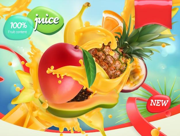 Wymieszaj Owoce. Plusk Soku. Mango, Banan, Ananas, Papaja. Realistyczny Wygląd Opakowania Premium Wektorów