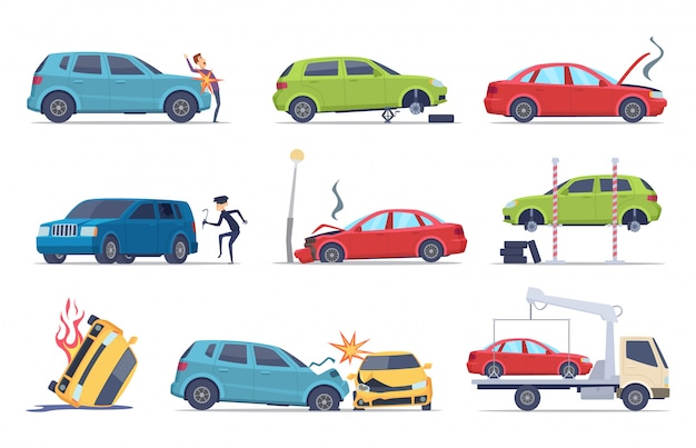 Wypadek Na Drodze. Uszkodzony Samochód Ubezpieczenie Pojazdu Transport Theif Naprawa Usługi Kolekcja Zdjęć Drogowych Premium Wektorów