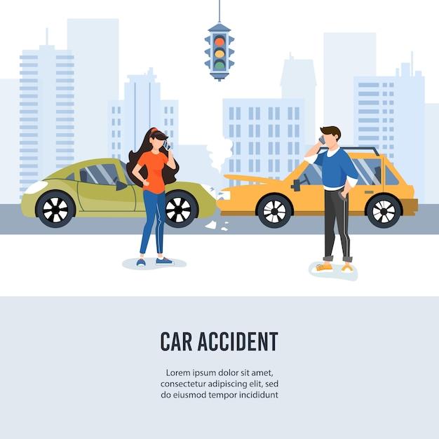 Wypadek samochodowy drogowy w mieście. Premium Wektorów