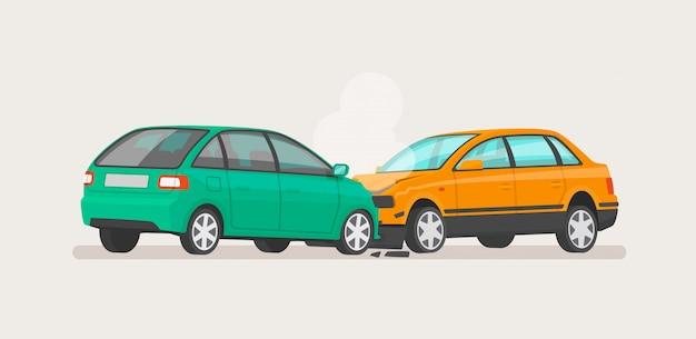 Wypadek Samochodowy Dwa Zepsute Samochody Premium Wektorów