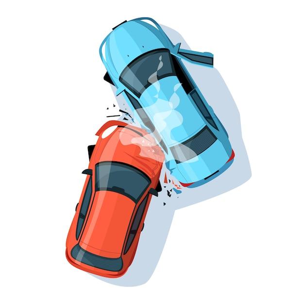 Wypadek Samochodowy Pół Płaskim Ilustracja Premium Wektorów