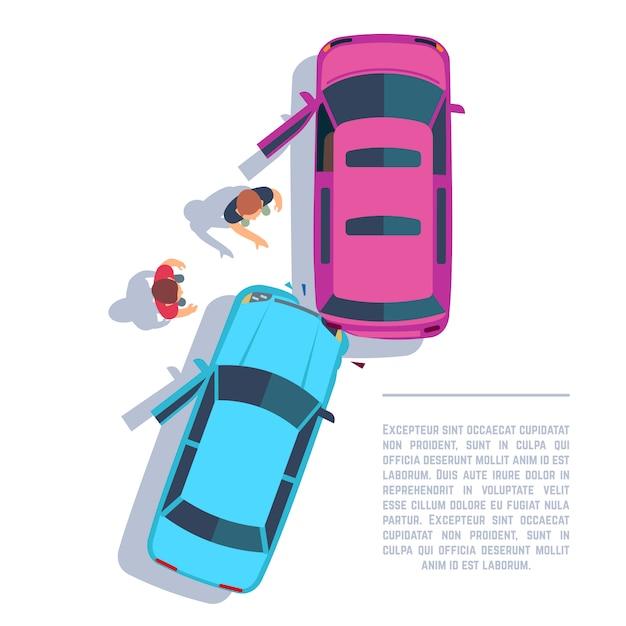 Wypadek Samochodowy. Rozbił Się Samochód I Ludzie Na Drodze Widok Z Góry. Ilustracja Wektorowa Ubezpieczenia Premium Wektorów