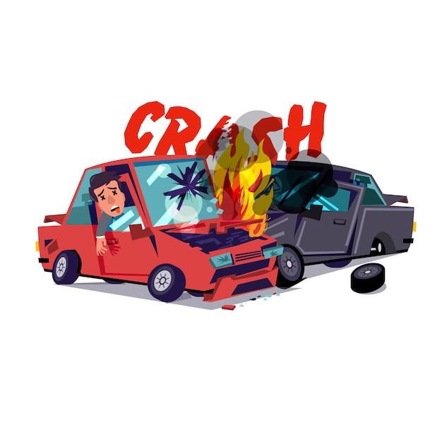 Wypadek Samochodowy Z Ogniem Premium Wektorów