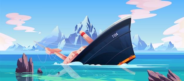 Wypadek wraku, statek biegnie na mieliźnie w oceanie Darmowych Wektorów