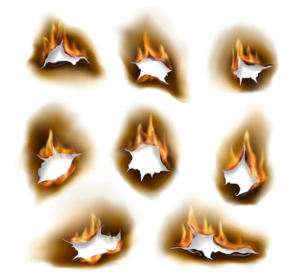 Wypalone Otwory Po Papierze, Realistyczny Ogień Premium Wektorów