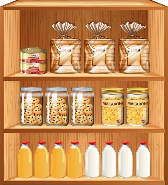 Wypieki I żywność Przetworzona Na Trzech Półkach Darmowych Wektorów