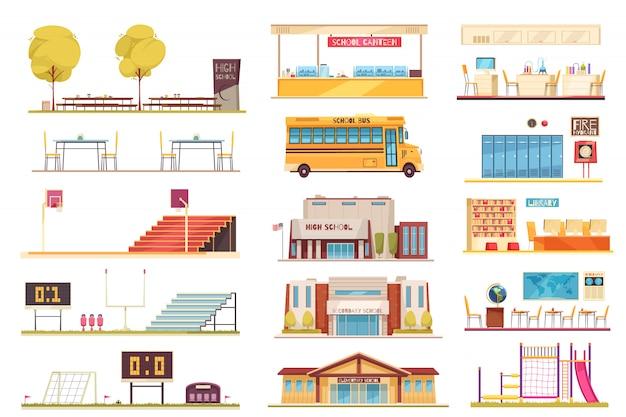 Wyposażenie Szkoły Kolekcja Elementów Płaskich Z Stadionu Sportowego żółty Budynek Autobusowy Fasada Fasada Klasie Bibliotheek Wnętrze Darmowych Wektorów