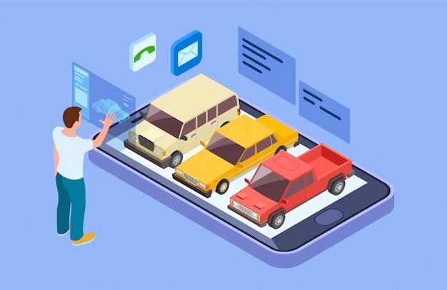 Wypożycz Samochód Online. Izometryczny Kup Samochód Za Pomocą Aplikacji Online Na Telefon. Człowiek Wybiera Koncepcję Wektora Pojazdu Premium Wektorów